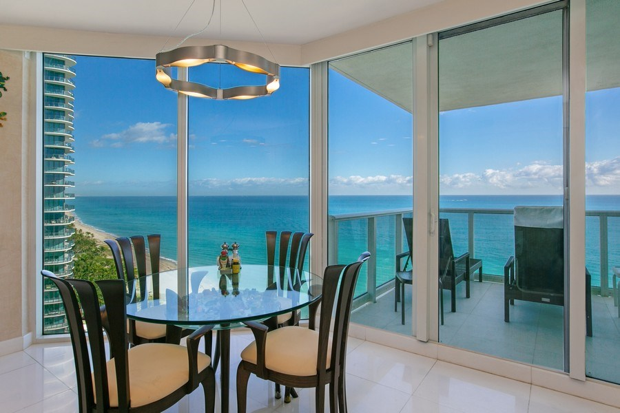 Real Estate Photography - 19333 Collins Ave, Apt 2001, Sunny Isles Beach, FL, 33160 - Panoramic Views from the kitchen