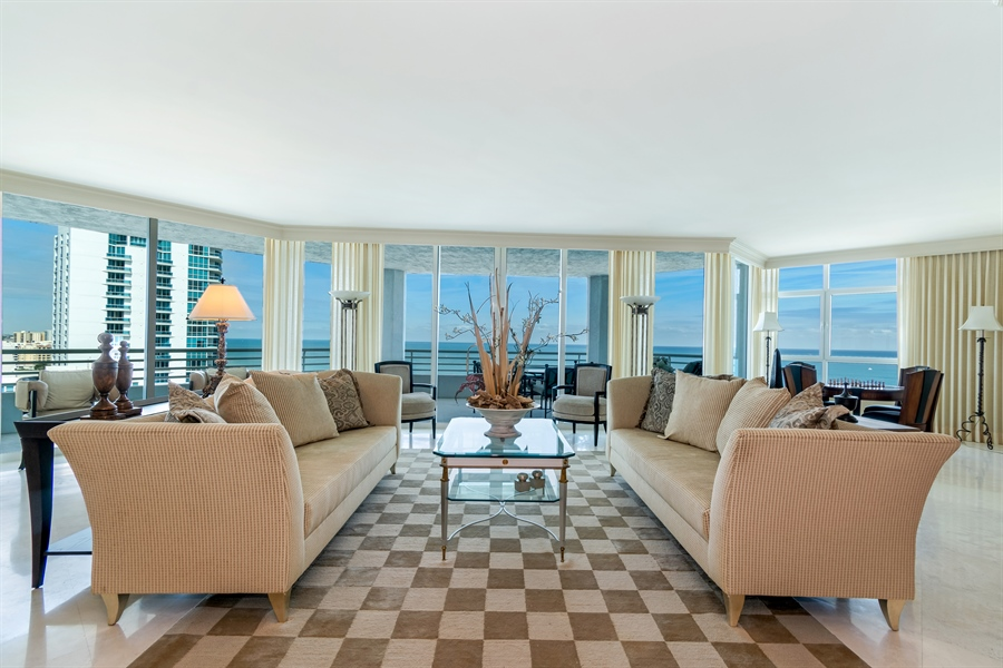 Real Estate Photography - 1700 S Ocean Blvd, Unit 18A, Pompano Beach, FL, 33062 - Living Room