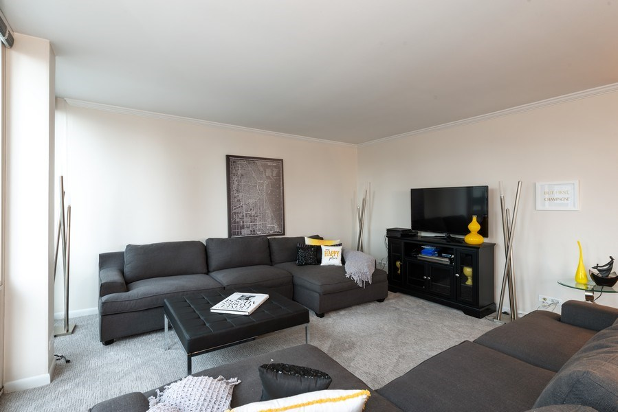 Real Estate Photography - 111 E Chestnut, Unit 20A, Chicago, IL, 60611 - Living Room