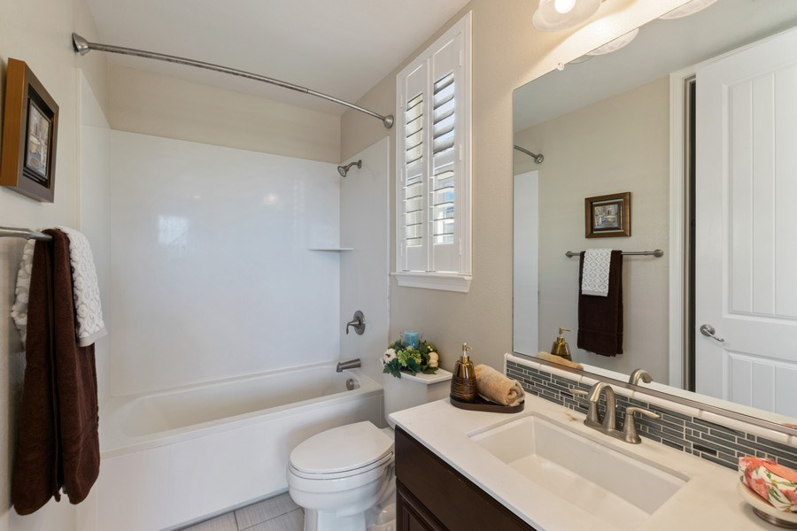 Real Estate Photography - 4367 Cherico Ln, Dublin, CA, 94568 - 3rd bath attached to bedroom on 2nd Floor