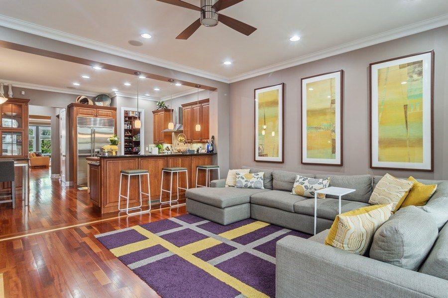 Real Estate Photography - 2606 N Kimball Ave, Chicago, IL, 60647 - Family Room / Kitchen