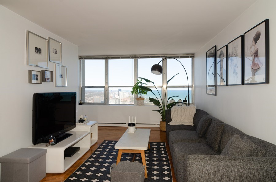 Real Estate Photography - 655 Irving Park, Unit 5104, Chicago, IL, 60613 - Living Room