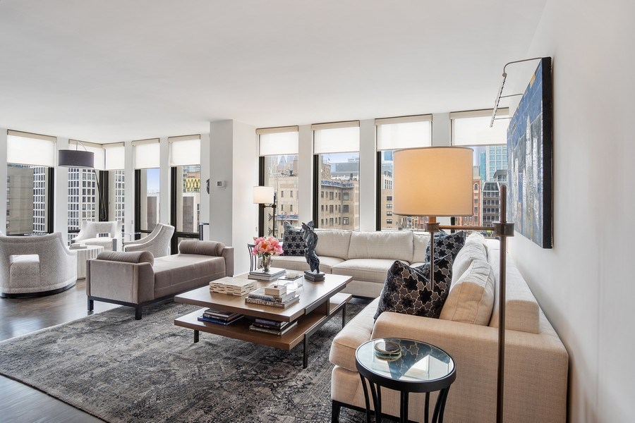 Real Estate Photography - 200 E Delaware, Unit 22D, Chicago, IL, 60611 - Living Room