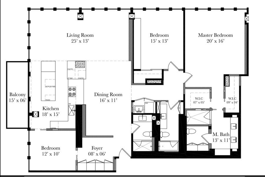 Real Estate Photography - 200 E Delaware, Unit 22D, Chicago, IL, 60611 - Floor Plan