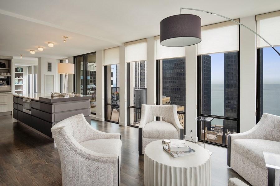 Real Estate Photography - 200 E Delaware, Unit 22D, Chicago, IL, 60611 - Kitchen/Living