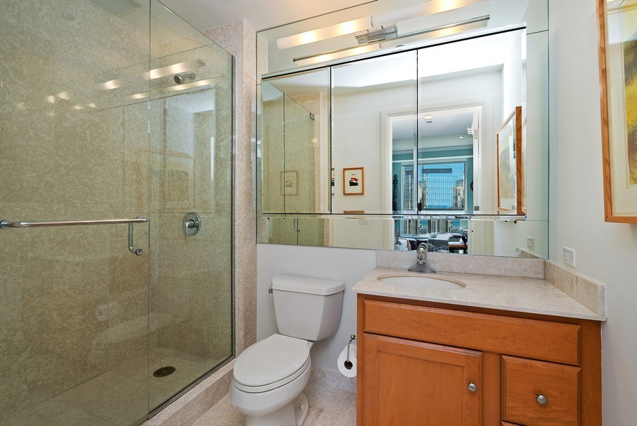 Real Estate Photography - 270 E Pearson, Apt 1102, Chicago, IL, 60611 - 2nd Bathroom
