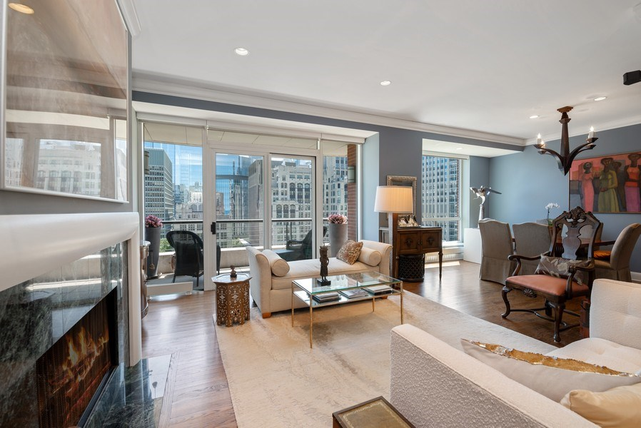 Real Estate Photography - 270 E Pearson, Apt 1102, Chicago, IL, 60611 - Living Room/Dining Room