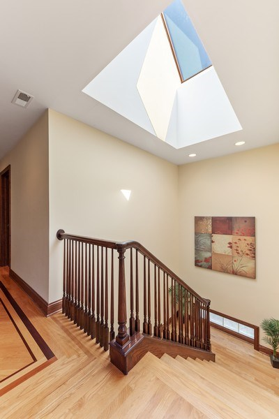 Real Estate Photography - 9 Woodridge, Oakbrook, IL, 60126 - Stairwell with Skylight