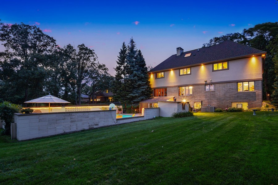 Real Estate Photography - 9 Woodridge, Oakbrook, IL, 60126 - Rear View at Night