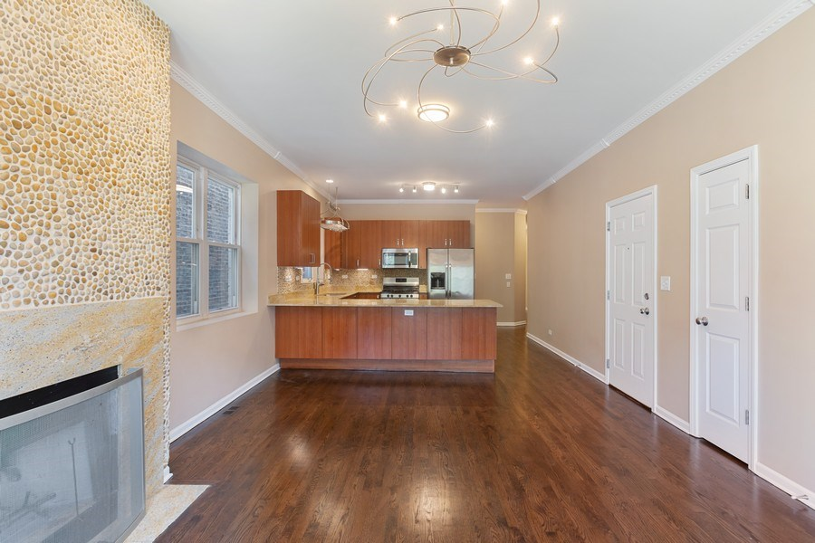 Real Estate Photography - 4431 S Calumet, 1N, Chicago, IL, 60653 - Kitchen/Living