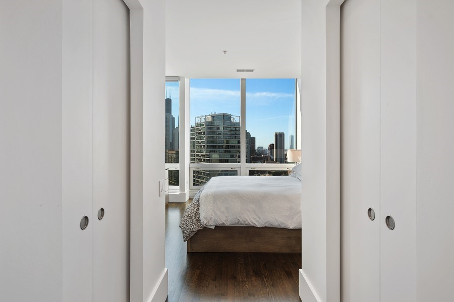 Real Estate Photography - 500 w superior, #1609, chicago, IL, 60654 - Master Bedroom Closet