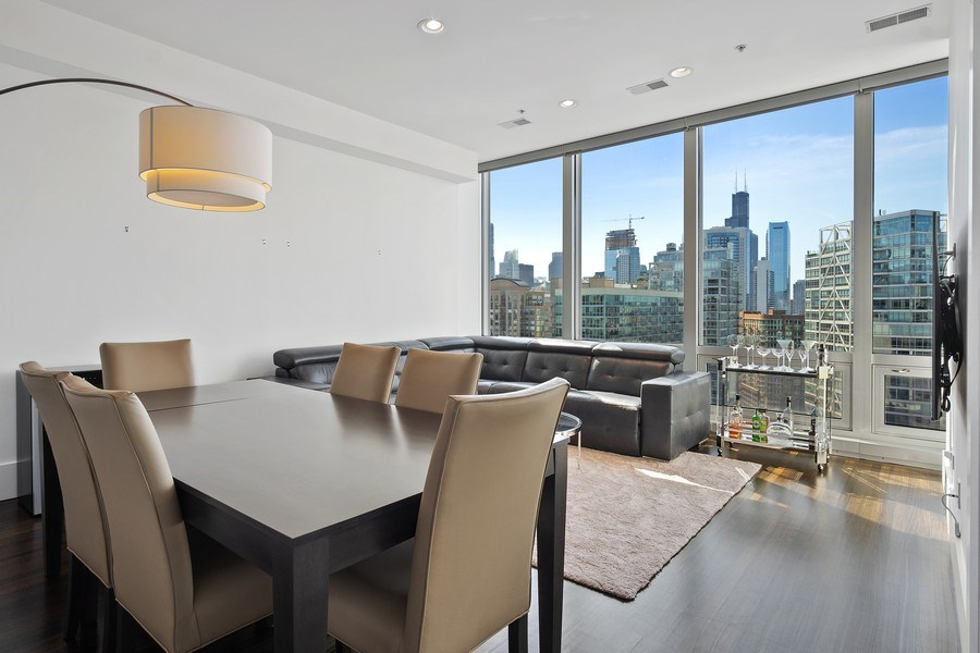 Real Estate Photography - 500 w superior, #1609, chicago, IL, 60654 - Living Room / Dining Room