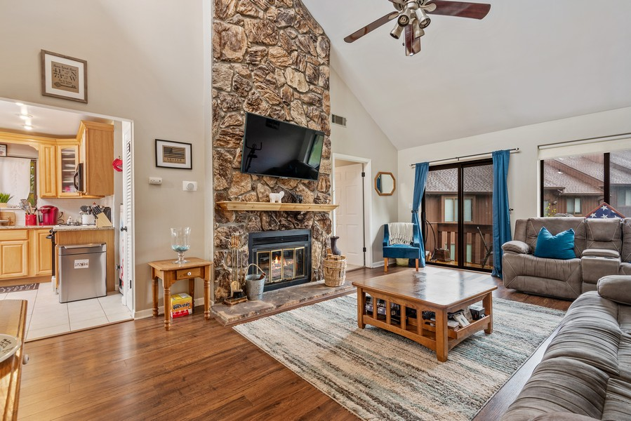 Real Estate Photography - 722 Panorama Drive, Mohegan Lake, NY, 10547 - FLOOR TO CEILING STONE FIREPLACE
