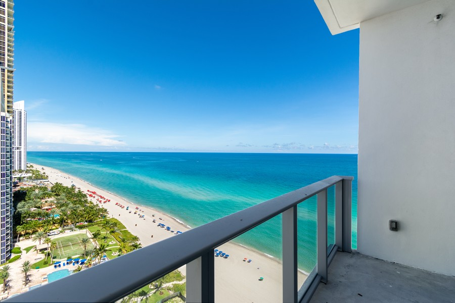 Real Estate Photography - 17475 Collins Ave, Unit 1501, Sunny Isles Beach, FL, 33160 - North Terrace_2nd Bedroom
