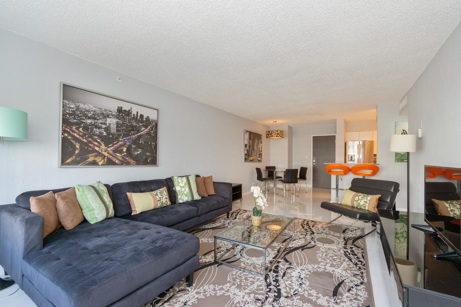 Real Estate Photography - 1500 Bay Road apt 654S, Miami Beach, FL, 33139 - Kitchen / Living Room