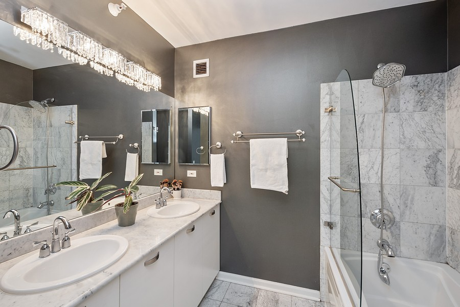 Real Estate Photography - 635 N Dearborn, Unit 803, Chicago, IL, 60654 - Master Bathroom