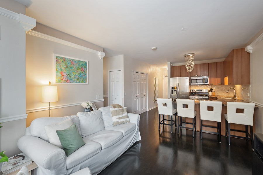 Real Estate Photography - 635 N Dearborn, Unit 803, Chicago, IL, 60654 - Living Room