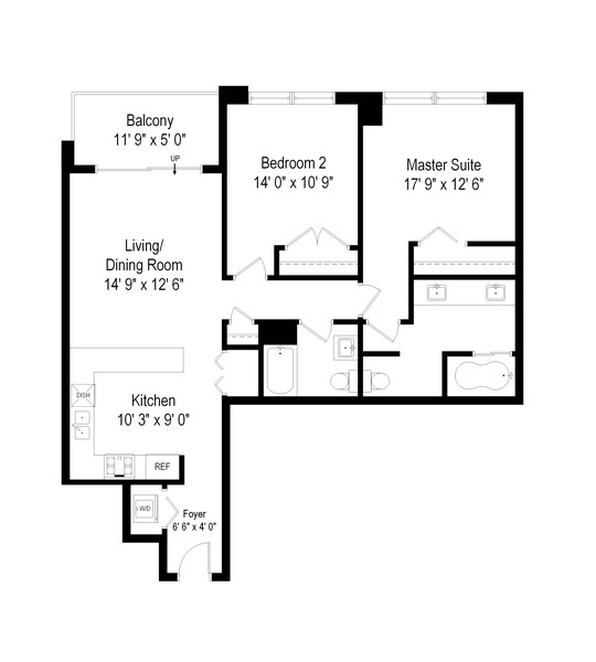 Real Estate Photography - 635 N Dearborn, Unit 803, Chicago, IL, 60654 - Floor Plan