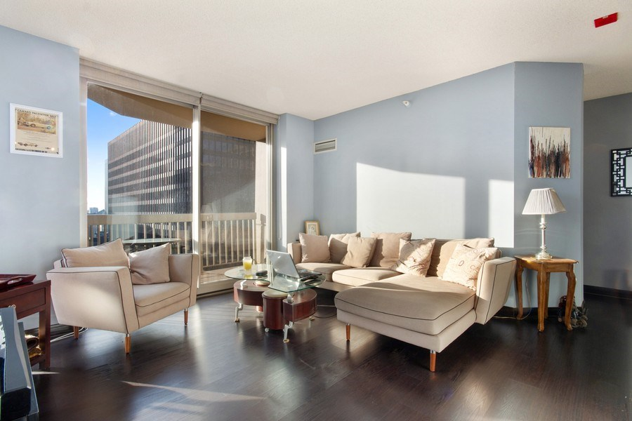 Real Estate Photography - 222 N Columbus, Unit 3102, Chicago, IL, 60601 - Living Room