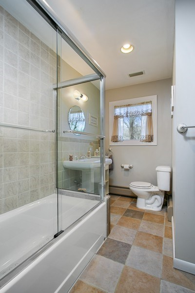 Real Estate Photography - 26 Rocky Brook Rd, Wilton, CT, 06897 - Hall Full Bathroom